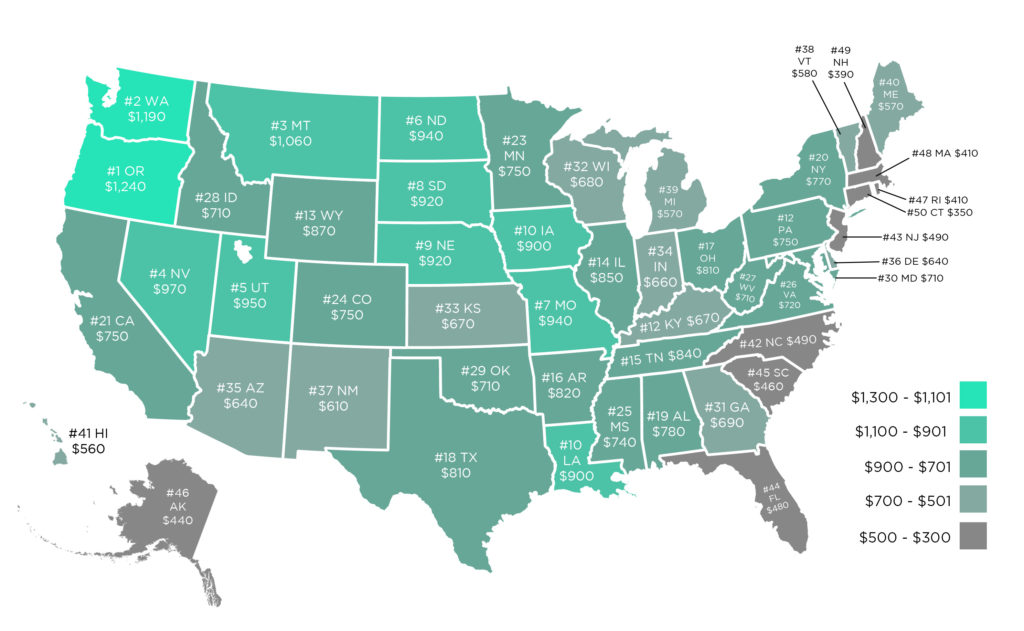 Map of fuel cost savings per year when driving on electricity instead of gas, by state.