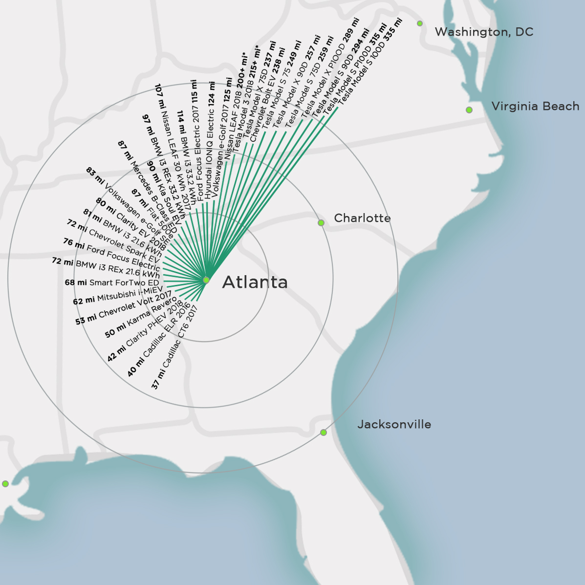 This Is How Far You Can Drive An EV From Atlanta GA Plugless Power - Atlanta on the us map